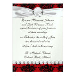 """red and black romantic damask 5.5"""" x 7.5"""" invitation card"""