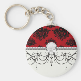 red and black romantic damask key chains