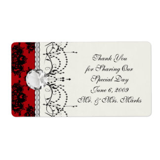red and black romantic damask label
