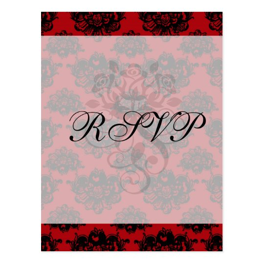 red and black romantic damask postcard