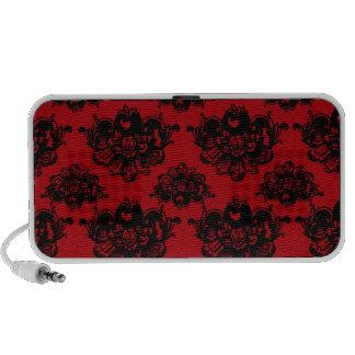 red and black romantic damask travel speaker