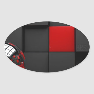Red and Black Room Oval Sticker