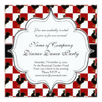 Red and Black Rooster Chicken Pattern Invitation