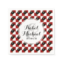 Red and Black Rooster Chicken Pattern Napkin