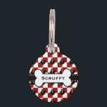 """Red and Black Rooster Chicken Pattern Pet ID Tag<br><div class=""""desc"""">Traditional style red and white checks with a proud rooster in the foreground. American country style.</div>"""