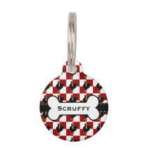 Red and Black Rooster Chicken Pattern Pet ID Tag