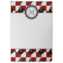 Red and Black Rooster Chicken Pattern Post-it Notes