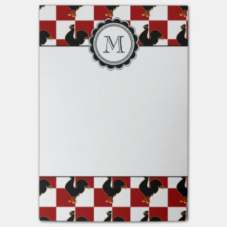 Red and Black Rooster Chicken Pattern Post-it® Notes