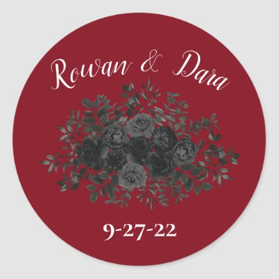 Red and Black Rose Gothic Favor Sticker Labels