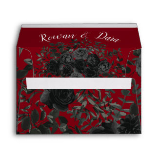 Red and Black Rose Gothic Wedding Envelopes