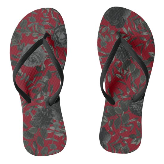 Red and Black Rose Gothic Wedding Flip-Flops Flip Flops