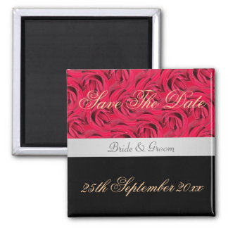 Red And Black Rose Save The Date Magnet