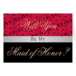 Red And Black Rose Will You Be My Maid Of Honor Ca Greeting Card