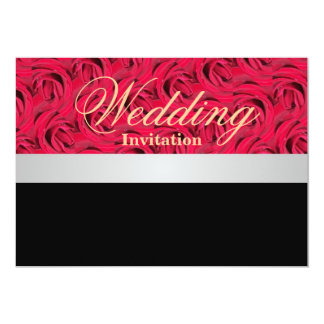 "Red And Black Roses Wedding Invitation 5"" X 7"" Invitation Card"