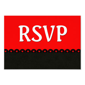 Red and Black RSVP Hearts Scalloped Lace V5E6 Card