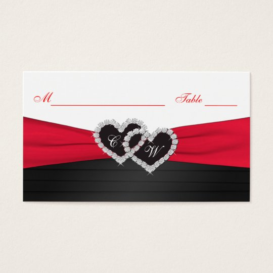 Red and Black Satin Pleats Hearts Placecards Business Card
