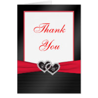 Red and Black Satin Pleats Thank You Card