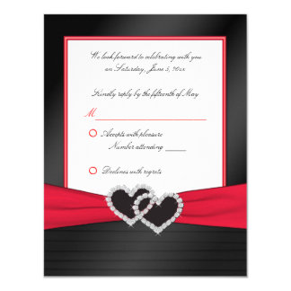 Red and Black Satin Pleats with Hearts Reply Card