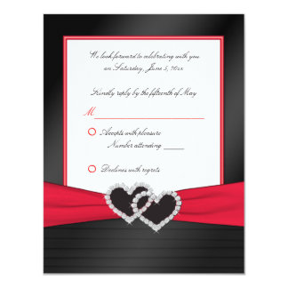 """Red and Black Satin Pleats with Hearts Reply Card 4.25"""" X 5.5"""" Invitation Card"""