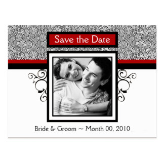 Red and Black Save the Date Photo Postcards
