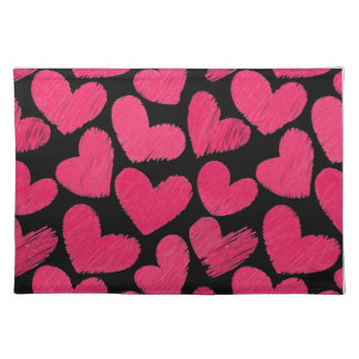 Red and black scribbled Love hearts Cloth Placemat