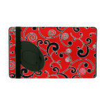 Red and Black Scroll Pattern iPad Cases