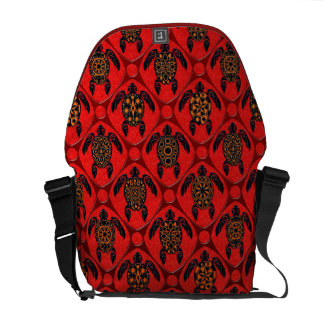 Red and Black Sea Turtle Pattern Courier Bags
