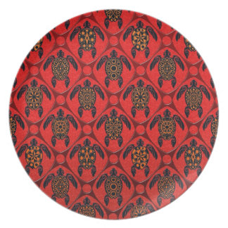 Red and Black Sea Turtle Pattern Dinner Plate