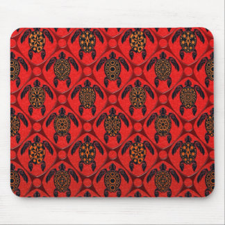 Red and Black Sea Turtle Pattern Mouse Pad