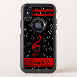 red and black, silber music notes otter box OtterBox commuter iPhone x case