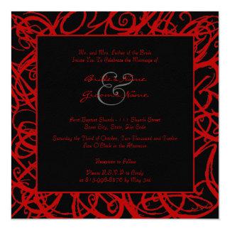 Red and Black Sketchy Frame Wedding Invitation