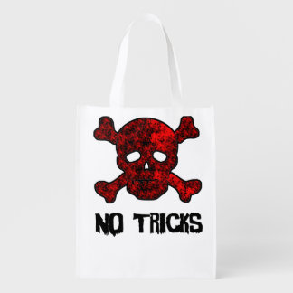 Red and Black Skull and Cross Bones Trick or Treat Market Totes