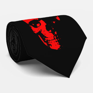 Red and Black  Skull Neck Tie