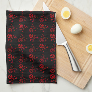 Red and Black Skull  Pattern Kitchen Towel