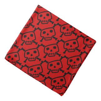 Red and Black Skulls and Crossbones Dog Bandana