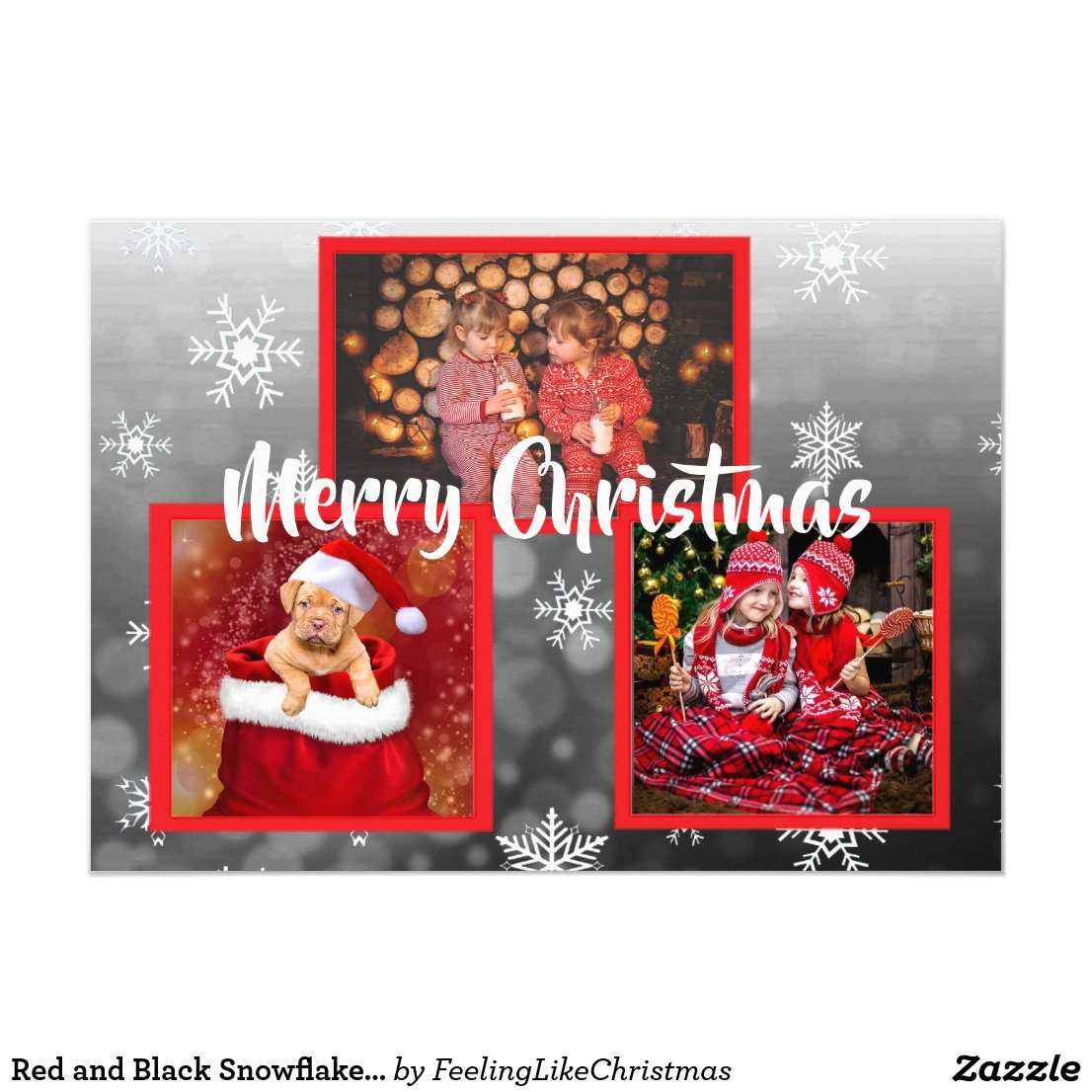 Red and Black Snowflakes Family Photos Christmas