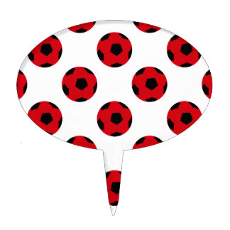 Red and Black Soccer Ball Pattern Cake Topper