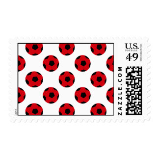 Red and Black Soccer Ball Pattern Postage