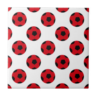 Red and Black Soccer Ball Pattern Tile