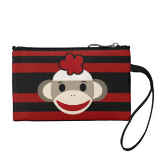 Red and Black Sock Monkey Girl Flower Hat Change Purse