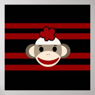Red and Black Sock Monkey Girl Flower Hat Poster