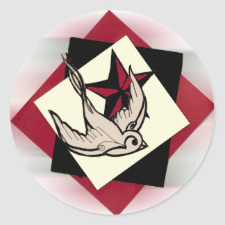 Red And Black Sparrow Set Classic Round Sticker