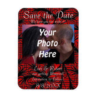 Red and Black Spiderweb Theme Photo Save the Date! Magnet