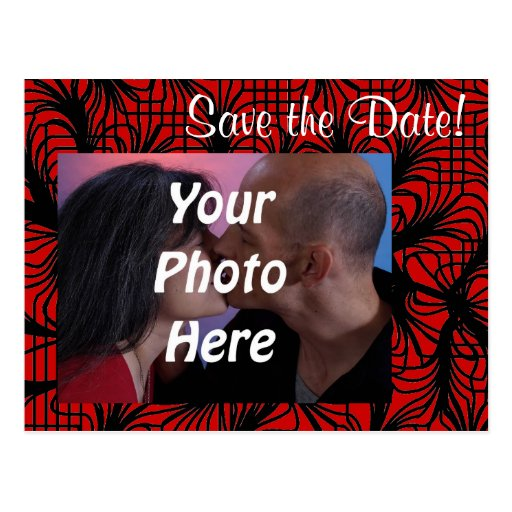Red and Black Spiderweb Theme Photo Save the Date! Postcards