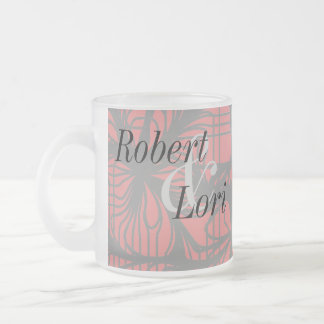 Red and Black Spiderweb Themed Anniversary Cup 10 Oz Frosted Glass Coffee Mug