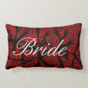 Red and Black Spiderweb Themed Bride Pillows
