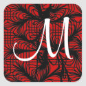 Red and Black Spiderweb Themed Monogram