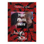 "Red and Black Spiderweb Themed Photo Wedding 5"" X 7"" Invitation Card"