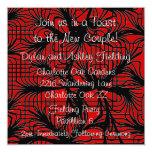 "Red and Black Spiderweb Themed Reception Card 5.25"" Square Invitation Card"