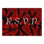"""Red and Black Spiderweb Themed RSVP with Kids 3.5"""" X 5"""" Invitation Card"""